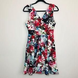 Haute Monde Brightly Colored Floral Dress L